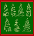 set christmas trees hand drawn vector image