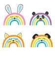 set isolated cute baanimals rainbows part 1 vector image