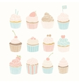 Set of 12 cupcakes vector image vector image