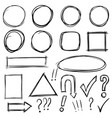 set of hand drawn arrows signs squares circles vector image vector image