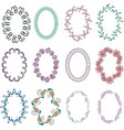 set with oval hand drawn multicolor frames vector image