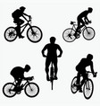 silhouettes mountain bike vector image