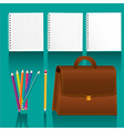 study elements icons with shadow on turquoise back vector image