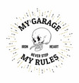 vintage hand drawn biker design with tattoo style vector image