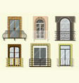 window forms icons set balcony vector image vector image