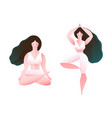 woman long hair practice yoga tree and lotus pose vector image