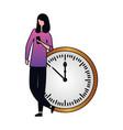 woman using clock near round clock vector image
