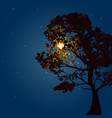 autumn tree on a background lunar night and the vector image