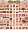 Furniture set for rooms of house Game objects vector image