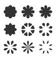 set of black flower design symbols flowers vector image