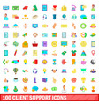 100 client support icons set cartoon style vector image vector image