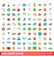 100 lorry icons set cartoon style vector image vector image