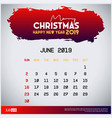 2019 june calendar template merry christmas and vector image vector image