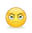 Angry emoticon on white background vector image vector image