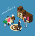 babysitter isometric composition vector image