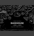 bakery chalk background blackboard bread and vector image vector image