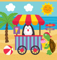 basic rgbturtle buys ice cream on beach vector image vector image