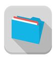Blue folder with paper flat app icon with long vector image