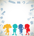Border design with children and school icons vector image