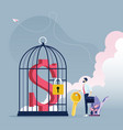 businessman unlock dollar sign in bird cage vector image vector image