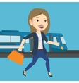 Businesswoman at train station vector image vector image