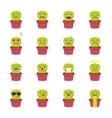 cactus emoji set Funny succulent emoticons vector image