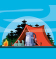 camping zone with tent and landscape vector image vector image