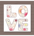 Card love on wooden background vector image vector image