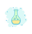 chemistry beakers sign icon in comic style flask vector image