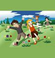 children running on the open field of wild flowers vector image vector image