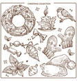 christmas collection of symbolic traditional vector image vector image