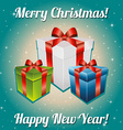 Christmas gifts with bow and ribbon New Year vector image