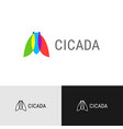 cicada insect creative color logo overlay flat vector image