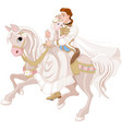 cinderella and prince riding a horse after wedding vector image vector image