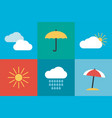 collection summer icons in flat design vector image