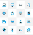 computer icons colored set with cpu printer vector image vector image