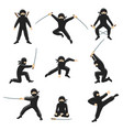 cute cartoon ninja kicking vector image vector image