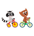 cute little raccoon and bear characters riding vector image vector image