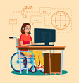 disabled woman working socialization vector image