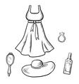 Dress sun hat ring mirror and perfume sketch vector image