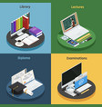 e-learning isometric concept vector image vector image