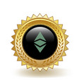 ethereum classic cryptocurrency coin gold badge vector image
