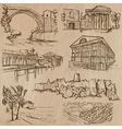 famous places and architecture - hand drawn vector image vector image