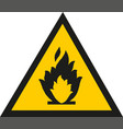 fire warning sign in yellow triangle flammable vector image vector image