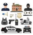 Flat Police Icon Set vector image