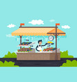 flat street fish stall with seafood lemon green vector image