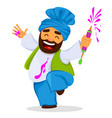 funny dancing man with liquid paint vector image