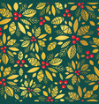 gold and green holly berry holiday seamless vector image vector image