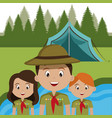 group of scouts in the camping zone vector image