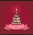 Happy birthday card big cake with candle vector image